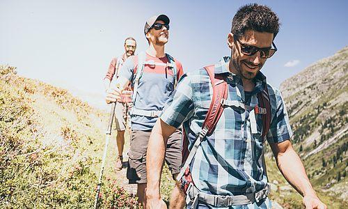 Dreier-Gruppe junger Männer bei einer Bergwanderung im Sonnenschein, auf dem Weg ins Tal