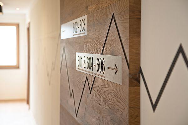 Detailaufnahme der Zimmernummern, Metallschilder auf Holz