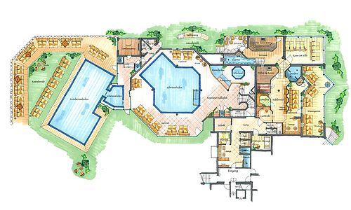 Übersichtsplan des Wellness-Bereichs des 4*s Ferienhotel Sonnenhof