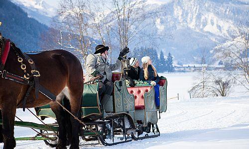 Kutschfahrt durch die verschneite Landschaft, Kutscher erklärt den mitfahrenden Gästen die Gegend